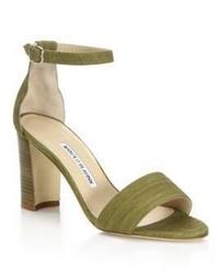 Sandalias de tacón de ante verde oliva