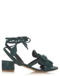 Sandalias de tacón de ante verde oscuro