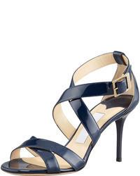 Sandalias de tacón de cuero azul marino