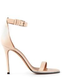 Sandalias de Tacón de Cuero Beige de Givenchy