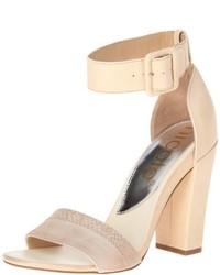 Sandalias de Tacón de Cuero Beige de Nicole