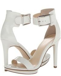 Sandalias de tacón de cuero blancas
