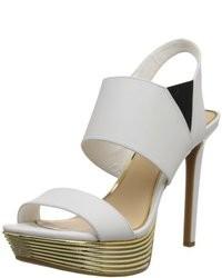 Sandalias de Tacón de Cuero Blancas de Jessica Simpson