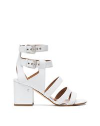 Sandalias de tacón de cuero blancas de Laurence Dacade
