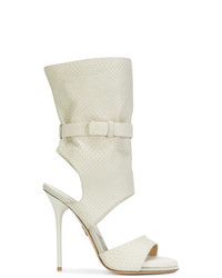 Sandalias de tacón de cuero blancas de Paul Andrew