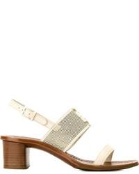 Sandalias de tacón de cuero blancas de Tory Burch