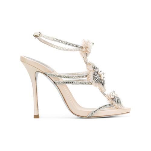 Sandalias de tacón de cuero con adornos en beige de Rene Caovilla