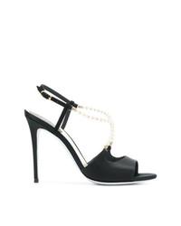 Sandalias de tacón de cuero con adornos negras de Rene Caovilla