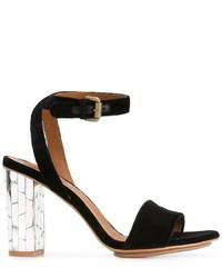 Sandalias de tacón de cuero con adornos negras de See by Chloe
