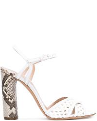 Sandalias de Tacón de Cuero con print de serpiente Blancas de Casadei