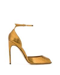 Sandalias de tacón de cuero con print de serpiente doradas de Brian Atwood