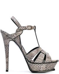 Sandalias de tacón de cuero con print de serpiente grises de Saint Laurent