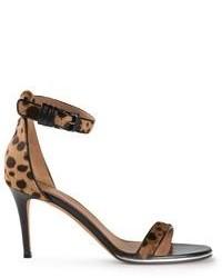 Sandalias de tacón de cuero de leopardo marrónes de Givenchy