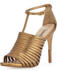 Sandalias de tacón de cuero doradas