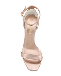 Sandalias de tacón de cuero doradas de Saint Laurent