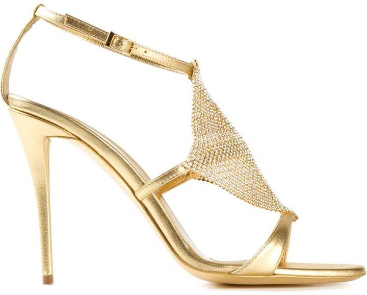 6b1b41a5d49 ... Sandalias de tacón de cuero doradas de Giuseppe Zanotti