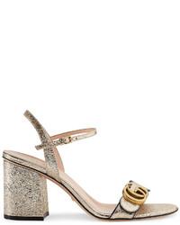 Sandalias de Tacón de Cuero Doradas de Gucci