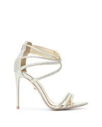 Sandalias de tacón de cuero doradas de Le Silla