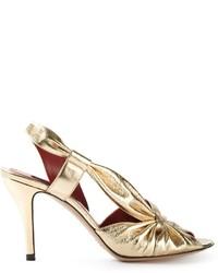 Sandalias de tacón de cuero doradas de Marc Jacobs