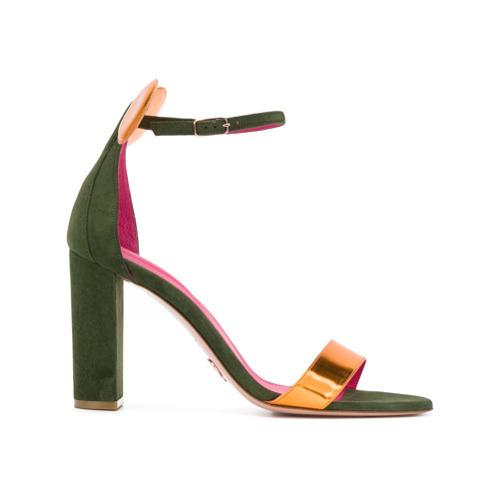 Sandalias de tacón de cuero doradas de Oscar Tiye
