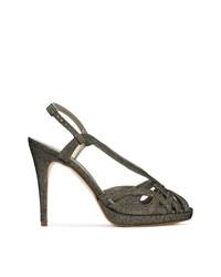 Sandalias de tacón de cuero doradas de Serpui