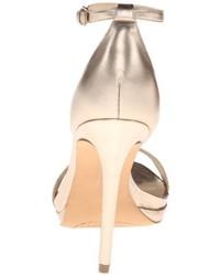 Sandalias de tacón de cuero doradas de Steven by Steve Madden
