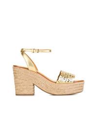 Sandalias de tacón de cuero doradas de Tory Burch