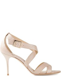 Sandalias de tacón de cuero en beige de Jimmy Choo