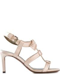 Sandalias de tacón de cuero en beige de Lanvin