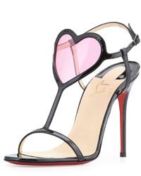 Sandalias de tacón de cuero en rojo y negro
