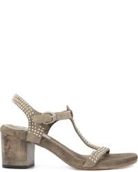 Sandalias de tacón de cuero grises de Calleen Cordero