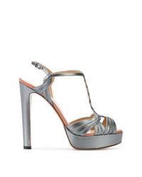 Sandalias de tacón de cuero grises de Francesco Russo