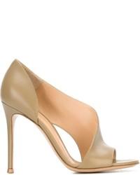 Sandalias de Tacón de Cuero Grises de Gianvito Rossi