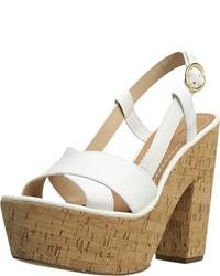 Sandalias de Tacón de Cuero Gruesas Blancas de Diane von Furstenberg