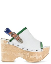 Sandalias de tacón de cuero gruesas blancas de Toga