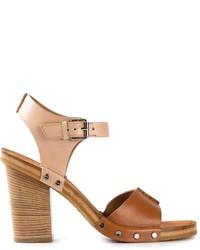 Sandalias de tacón de cuero gruesas marrónes