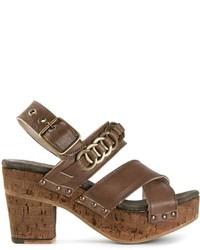 Sandalias de tacón de cuero gruesas marrónes de Fiorentini+Baker