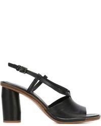 Sandalias de Tacón de Cuero Gruesas Negras de Roberto Del Carlo