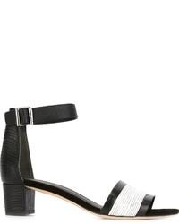 Sandalias de tacón de cuero gruesas negras de Vince