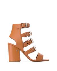 Sandalias de tacón de cuero marrón claro de Laurence Dacade