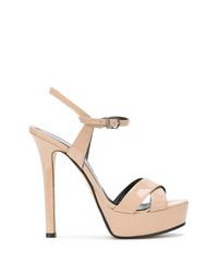 Sandalias de tacón de cuero marrón claro de Marc Ellis