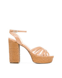 Sandalias de tacón de cuero marrón claro de Schutz