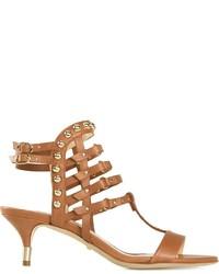 Sandalias de tacón de cuero marrónes de Jerome Rousseau