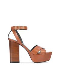 Sandalias de tacón de cuero marrónes de Saint Laurent