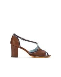 Sandalias de tacón de cuero marrónes de Sarah Chofakian