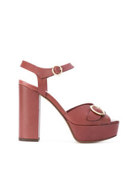 Sandalias de tacón de cuero marrónes de Tila March