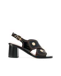 Sandalias de tacón de cuero negras de Derek Lam