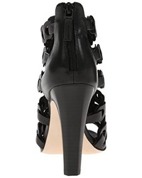 Sandalias de tacón de cuero negras de Elie Tahari