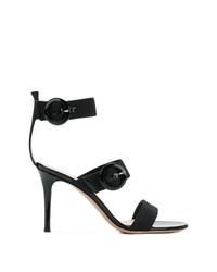 Sandalias de tacón de cuero negras de Gianvito Rossi