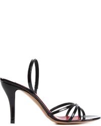 Sandalias de tacón de cuero negras de Marc Jacobs